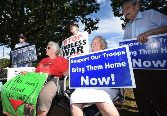 Activists in Teaneck protest Trump's Afghanistan war strategy